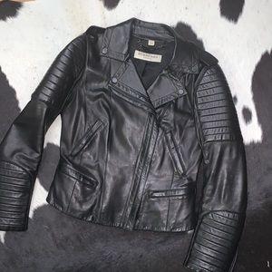 Burberry London lambskin leather black moto jacket